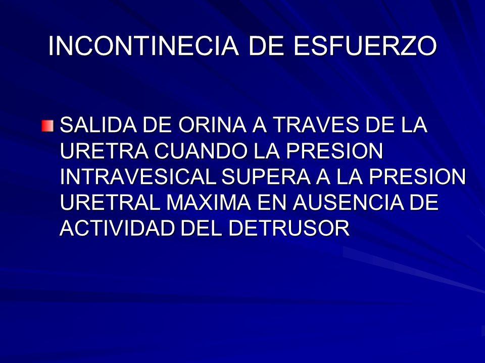 INCONTINECIA DE ESFUERZO SALIDA DE ORINA A TRAVES DE LA URETRA CUANDO LA PRESION INTRAVESICAL SUPERA A LA PRESION URETRAL MAXIMA EN AUSENCIA DE ACTIVI