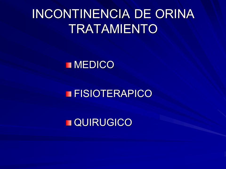 INCONTINENCIA DE ORINA TRATAMIENTO MEDICOFISIOTERAPICOQUIRUGICO