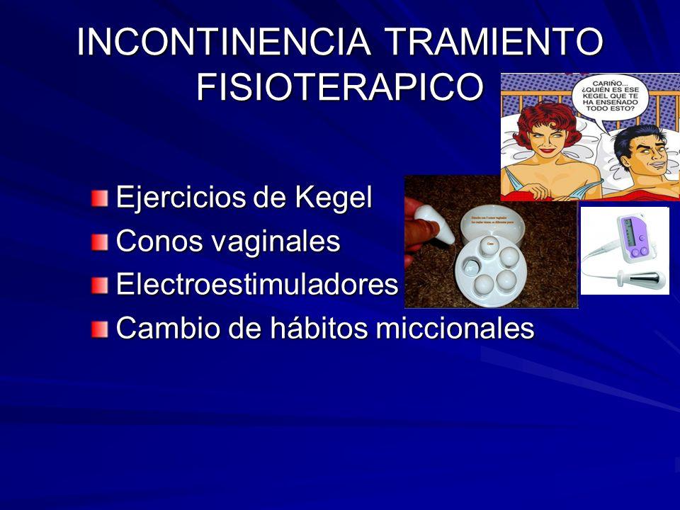 INCONTINENCIA TRAMIENTO FISIOTERAPICO Ejercicios de Kegel Conos vaginales Electroestimuladores Cambio de hábitos miccionales