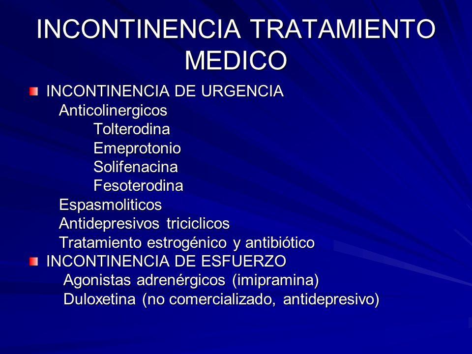 INCONTINENCIA TRATAMIENTO MEDICO INCONTINENCIA DE URGENCIA Anticolinergicos Anticolinergicos Tolterodina Tolterodina Emeprotonio Emeprotonio Solifenac