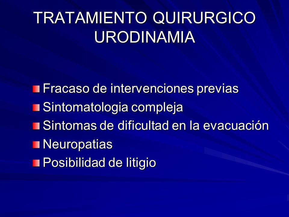 TRATAMIENTO QUIRURGICO URODINAMIA Fracaso de intervenciones previas Sintomatologia compleja Sintomas de dificultad en la evacuación Neuropatias Posibi