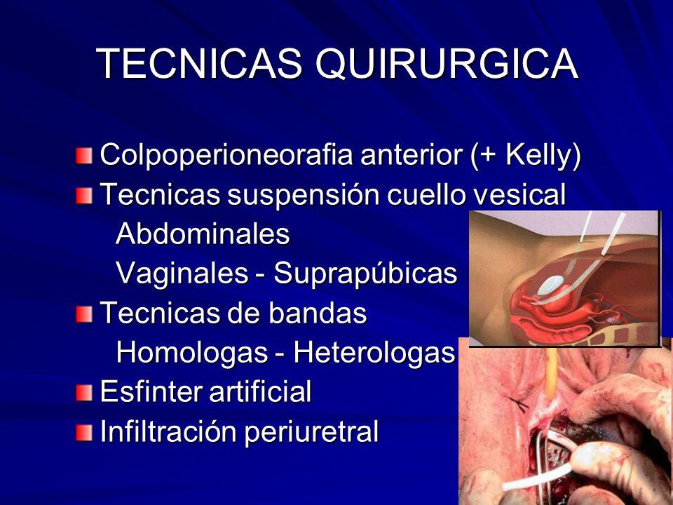TECNICAS QUIRURGICA Colpoperioneorafia anterior (+ Kelly) Tecnicas suspensión cuello vesical Abdominales Abdominales Vaginales - Suprapúbicas Vaginale