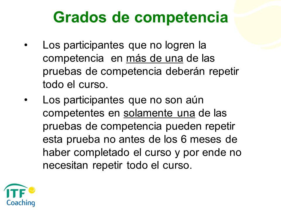 Grados de competencia Los participantes que no logren la competencia en más de una de las pruebas de competencia deberán repetir todo el curso. Los pa