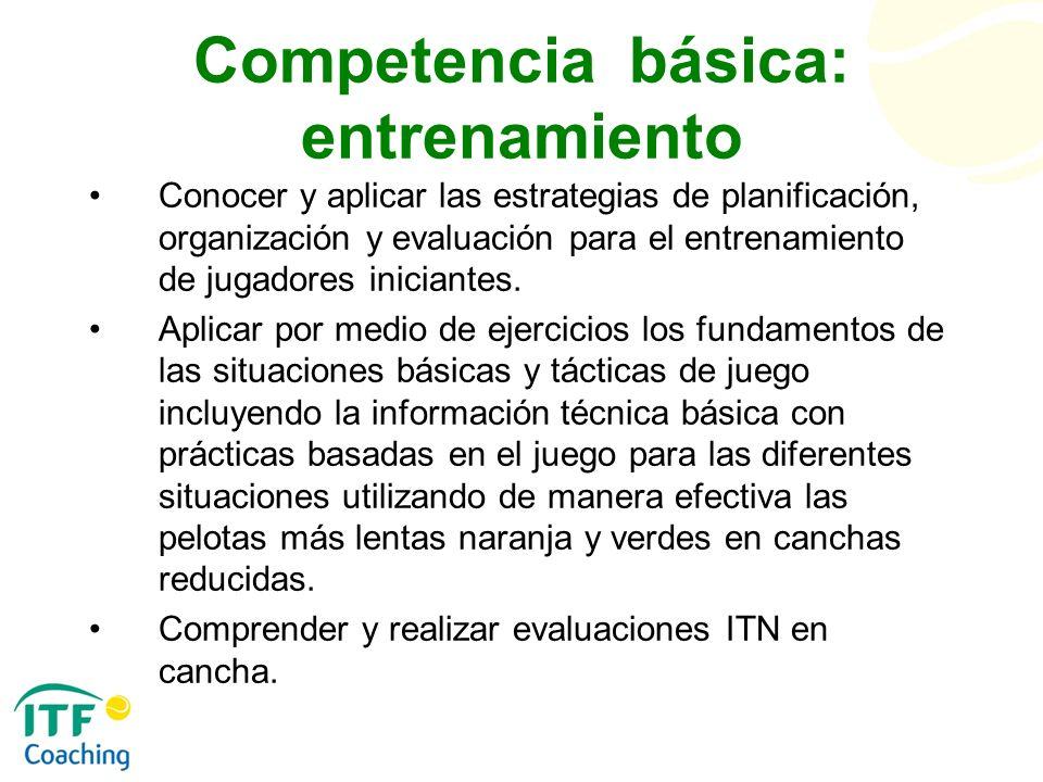 Competencia básica: entrenamiento Conocer y aplicar las estrategias de planificación, organización y evaluación para el entrenamiento de jugadores ini