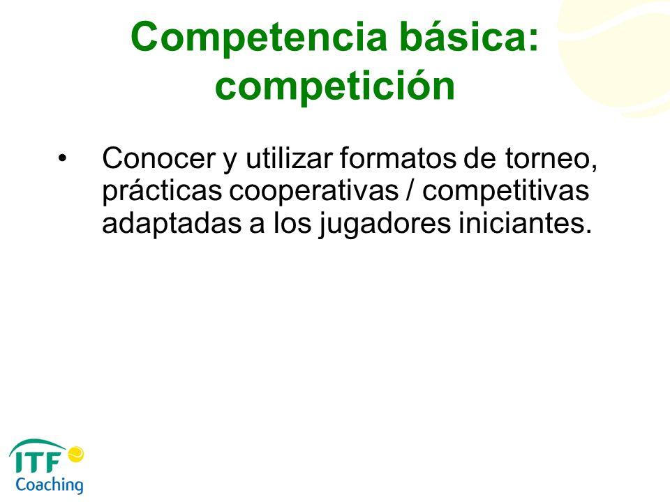 Competencia básica: competición Conocer y utilizar formatos de torneo, prácticas cooperativas / competitivas adaptadas a los jugadores iniciantes.