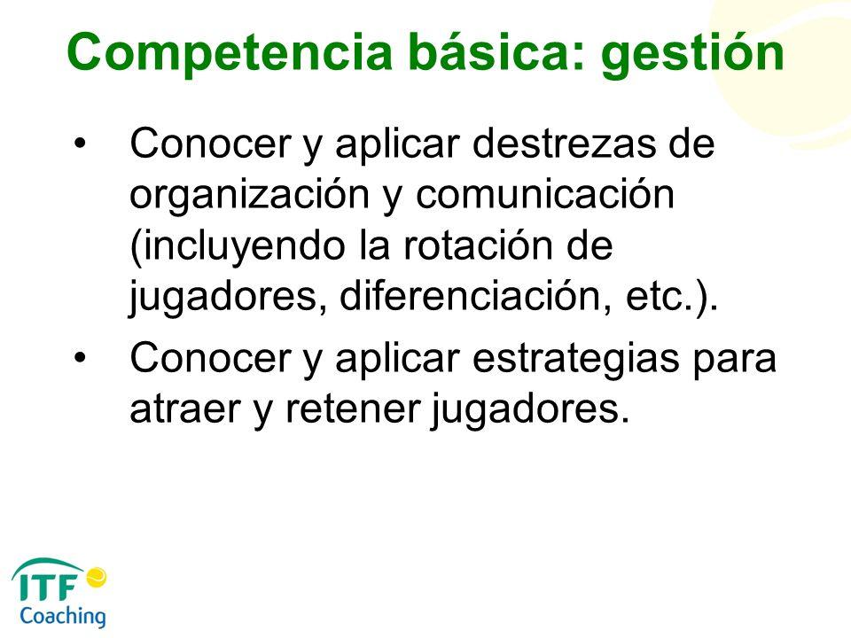 Competencia básica: gestión Conocer y aplicar destrezas de organización y comunicación (incluyendo la rotación de jugadores, diferenciación, etc.). Co