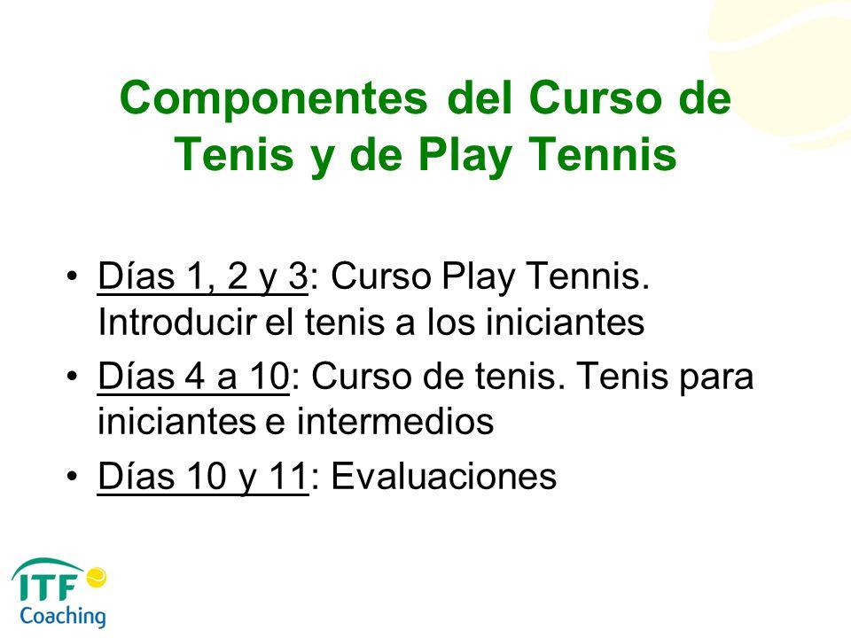 Componentes del Curso de Tenis y de Play Tennis Días 1, 2 y 3: Curso Play Tennis. Introducir el tenis a los iniciantes Días 4 a 10: Curso de tenis. Te