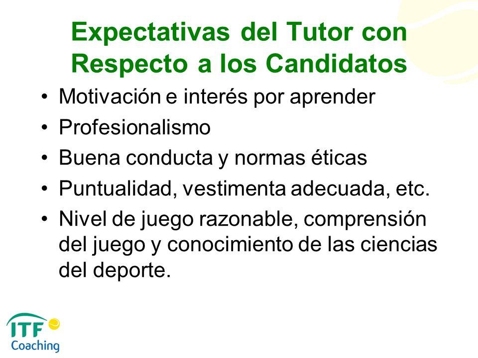 Expectativas del Tutor con Respecto a los Candidatos Motivación e interés por aprender Profesionalismo Buena conducta y normas éticas Puntualidad, ves