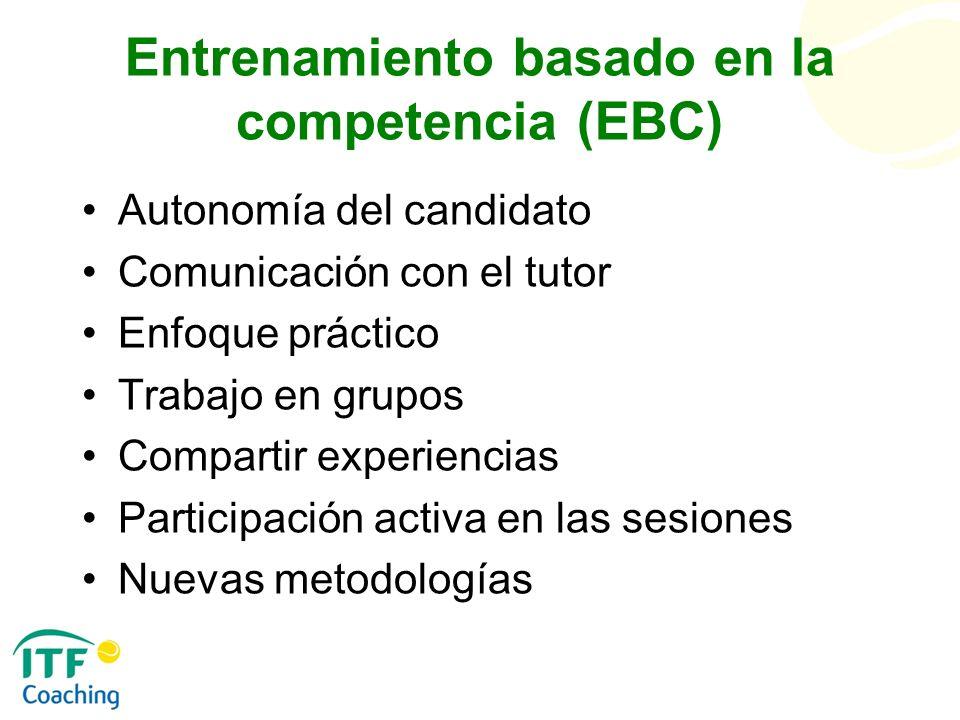 Entrenamiento basado en la competencia (EBC) Autonomía del candidato Comunicación con el tutor Enfoque práctico Trabajo en grupos Compartir experienci
