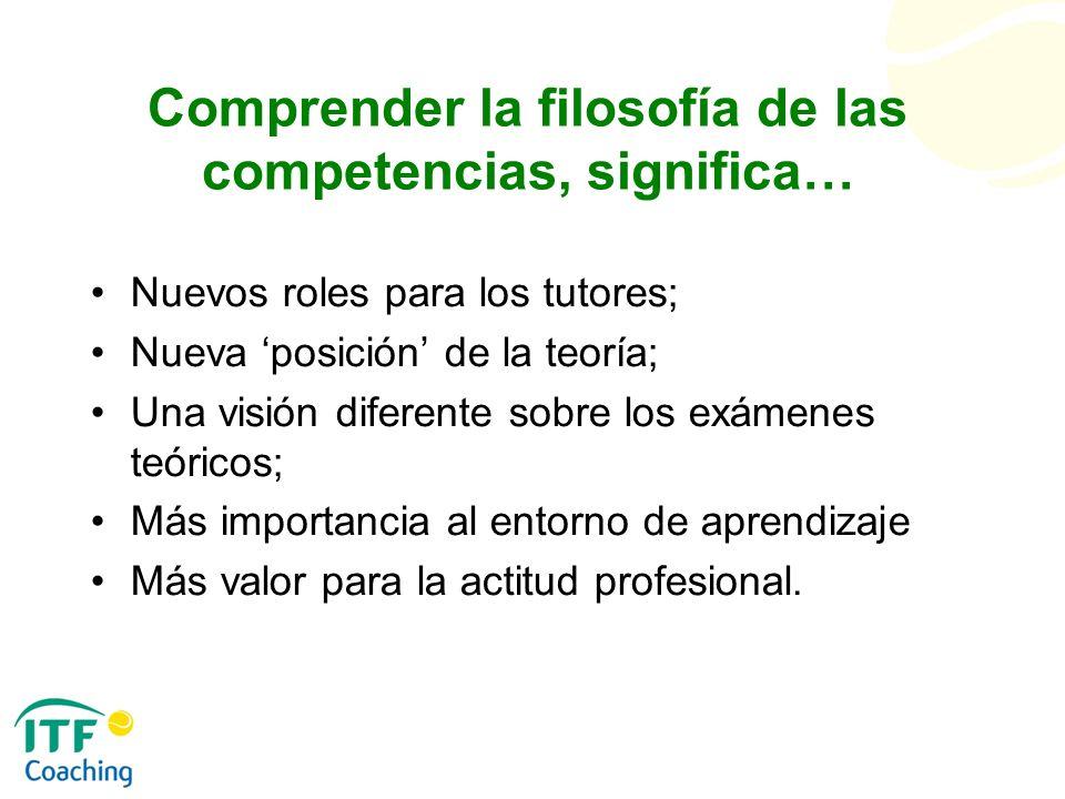 Comprender la filosofía de las competencias, significa… Nuevos roles para los tutores; Nueva posición de la teoría; Una visión diferente sobre los exá