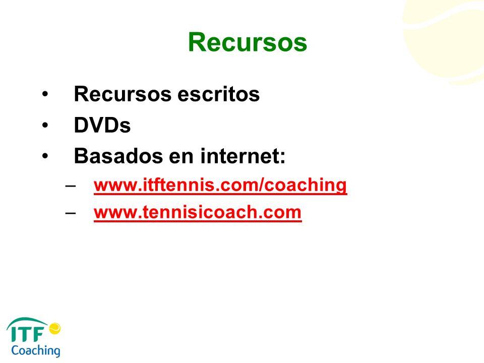 Recursos Recursos escritos DVDs Basados en internet: –www.itftennis.com/coachingwww.itftennis.com/coaching –www.tennisicoach.comwww.tennisicoach.com