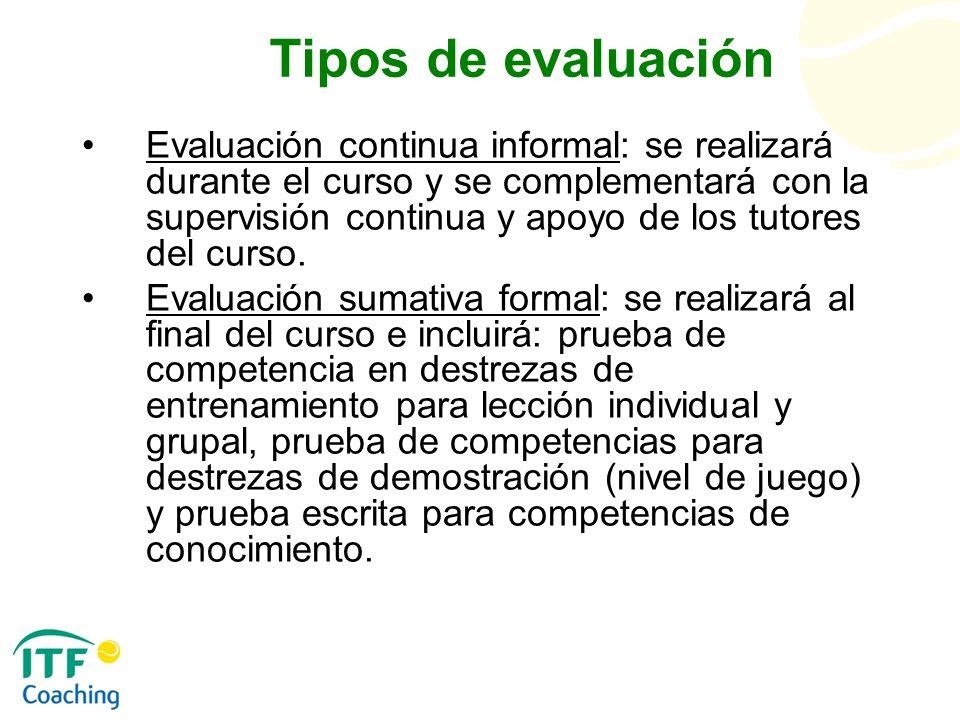 Tipos de evaluación Evaluación continua informal: se realizará durante el curso y se complementará con la supervisión continua y apoyo de los tutores