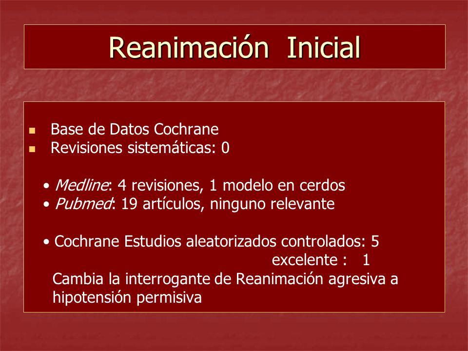 Reanimación Inicial Base de Datos Cochrane Revisiones sistemáticas: 0 Medline: 4 revisiones, 1 modelo en cerdos Pubmed: 19 artículos, ninguno relevant
