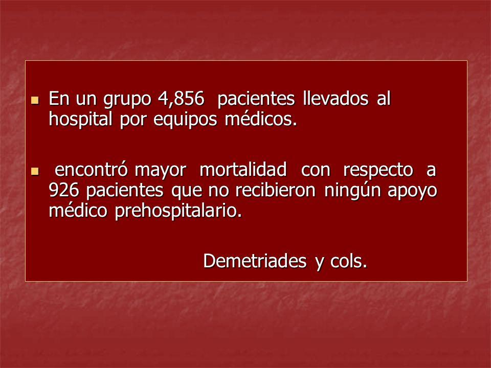 En un grupo 4,856 pacientes llevados al hospital por equipos médicos. En un grupo 4,856 pacientes llevados al hospital por equipos médicos. encontró m