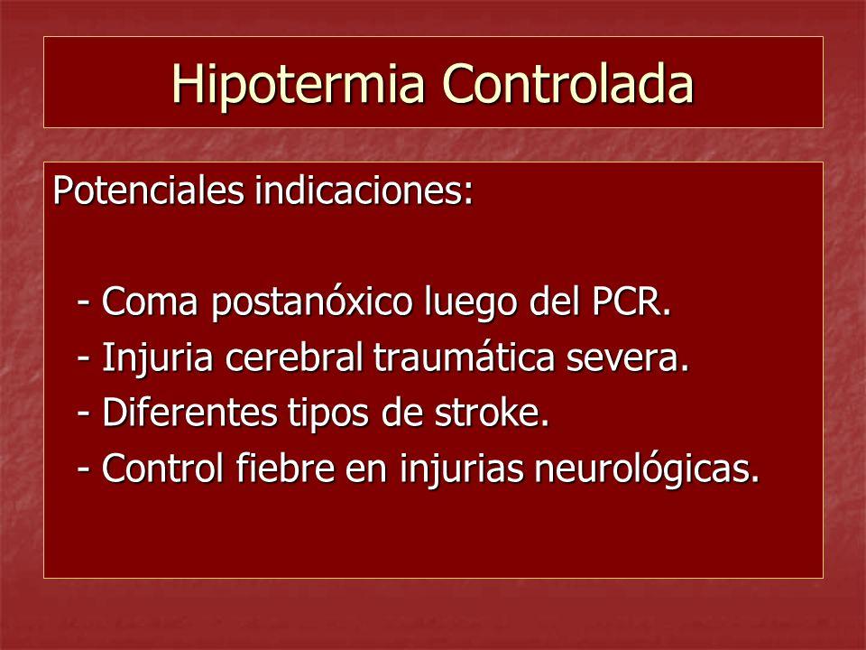 Hipotermia Controlada Potenciales indicaciones: - Coma postanóxico luego del PCR. - Coma postanóxico luego del PCR. - Injuria cerebral traumática seve