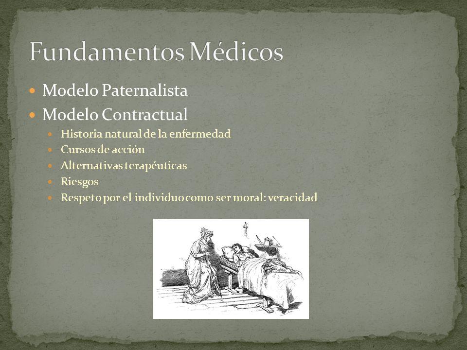 Modelo Paternalista Modelo Contractual Historia natural de la enfermedad Cursos de acción Alternativas terapéuticas Riesgos Respeto por el individuo c