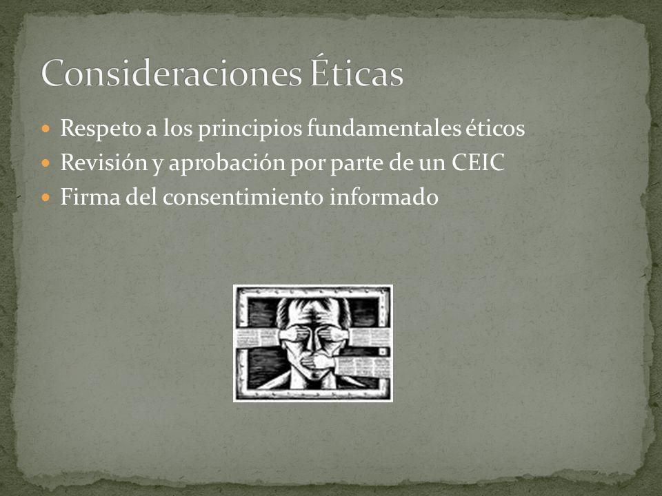 Respeto a los principios fundamentales éticos Revisión y aprobación por parte de un CEIC Firma del consentimiento informado