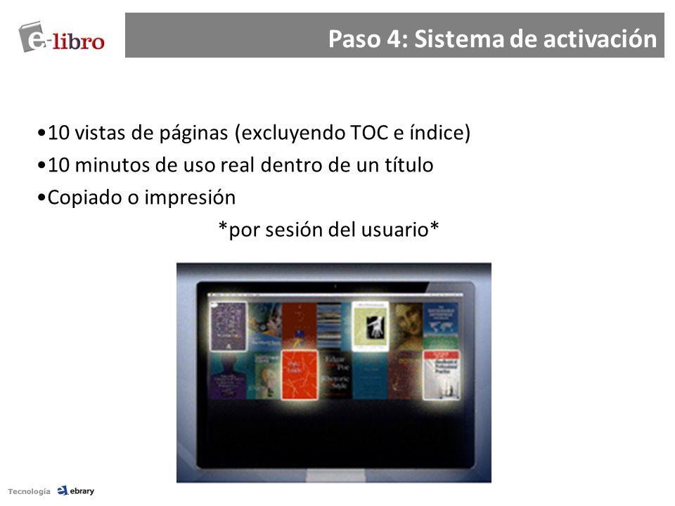 10 vistas de páginas (excluyendo TOC e índice) 10 minutos de uso real dentro de un título Copiado o impresión *por sesión del usuario* Paso 4: Sistema