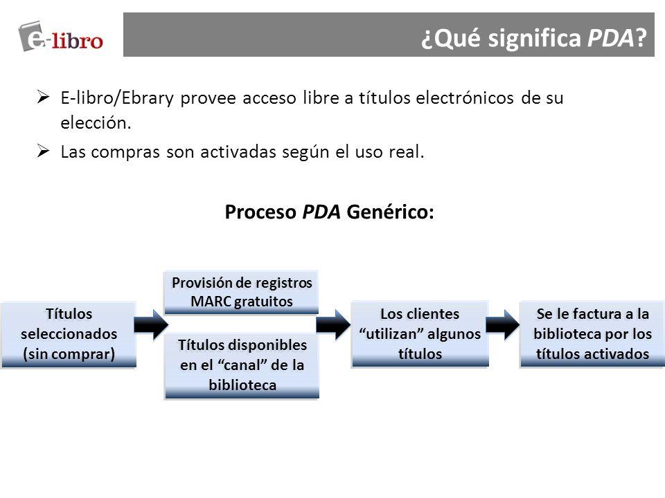 E-libro/Ebrary provee acceso libre a títulos electrónicos de su elección. Las compras son activadas según el uso real. Proceso PDA Genérico: Títulos s