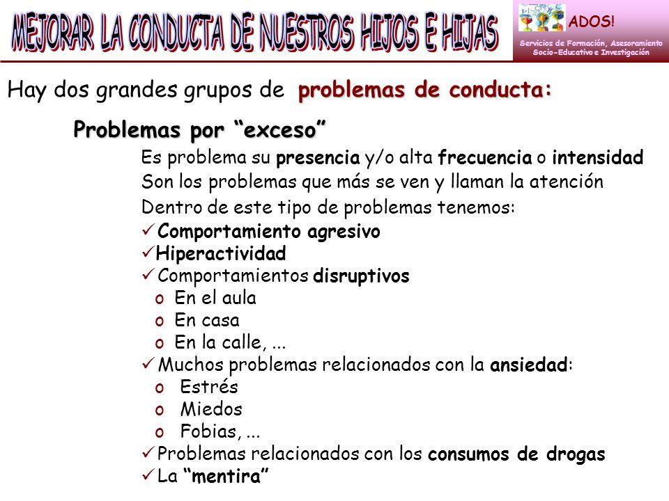 problemas de conducta: Hay dos grandes grupos de problemas de conducta: Problemas por exceso Es problema su presencia y/o alta frecuencia o intensidad