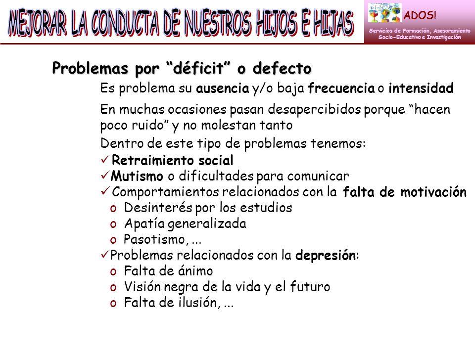 Problemas por déficit o defecto Es problema su ausencia y/o baja frecuencia o intensidad ADOS! Servicios de Formación, Asesoramiento Socio-Educativo e