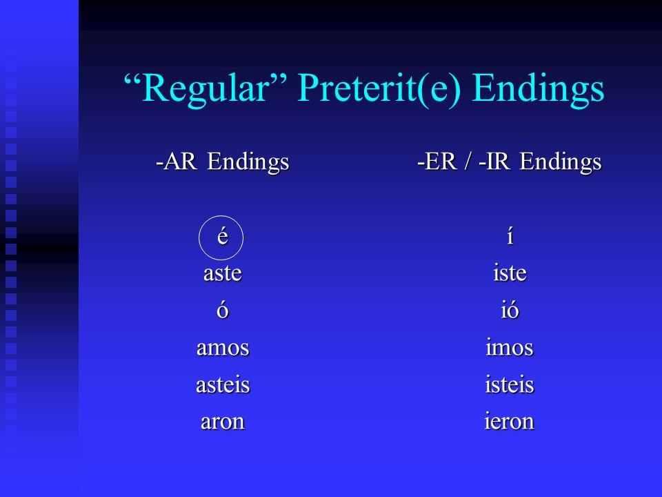 Irregular Preterit(e) Patterns -ice (hacer – hice) -ise (querer – quise) -ine (venir – vine) -uje (producir – produje)