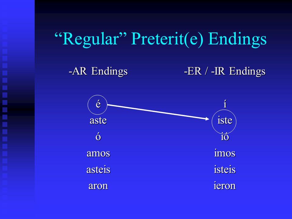 Irregular Preterit(e) Patterns -ice (hacer – hice) -ise (querer – quise) -ine (venir – vine) -uje (producir – produje) -upe (saber – supe)