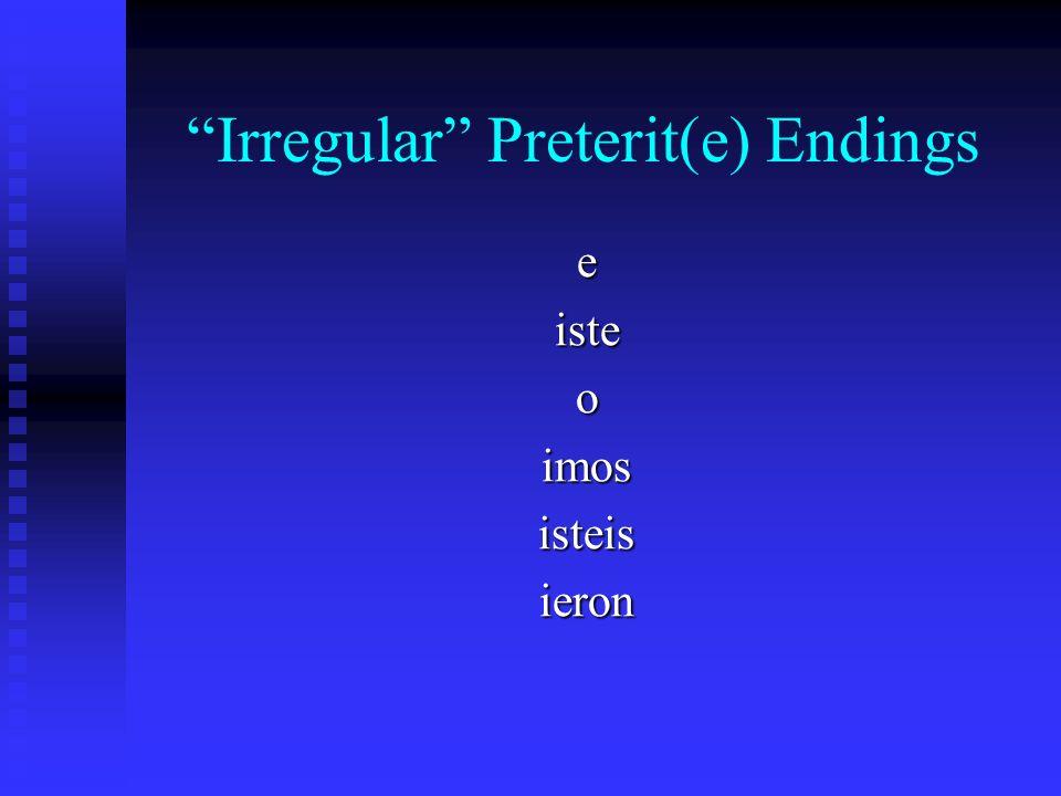 Irregular Preterit(e) Patterns -uve (tener – tuve) -uve (estar – estuve) and a few others…