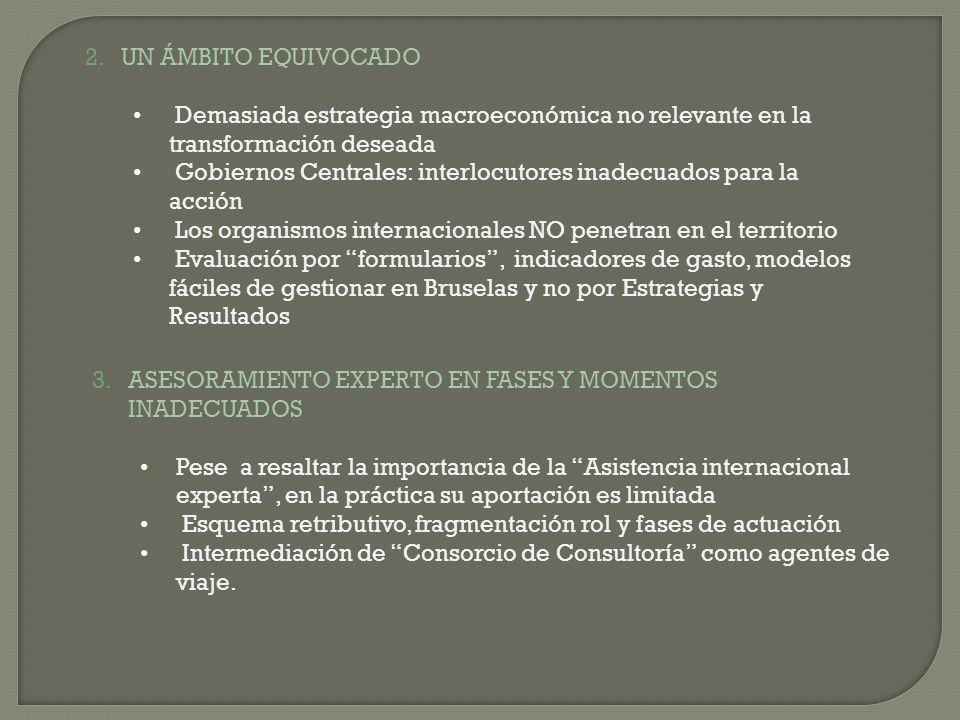 2.UN ÁMBITO EQUIVOCADO Demasiada estrategia macroeconómica no relevante en la transformación deseada Gobiernos Centrales: interlocutores inadecuados p