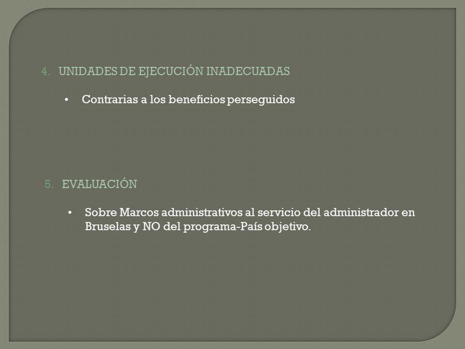 4.UNIDADES DE EJECUCIÓN INADECUADAS Contrarias a los beneficios perseguidos 5.EVALUACIÓN Sobre Marcos administrativos al servicio del administrador en