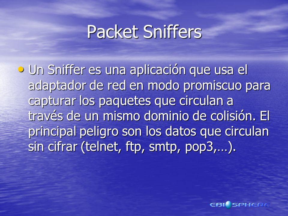 Packet Sniffers Un Sniffer es una aplicación que usa el adaptador de red en modo promiscuo para capturar los paquetes que circulan a través de un mismo dominio de colisión.