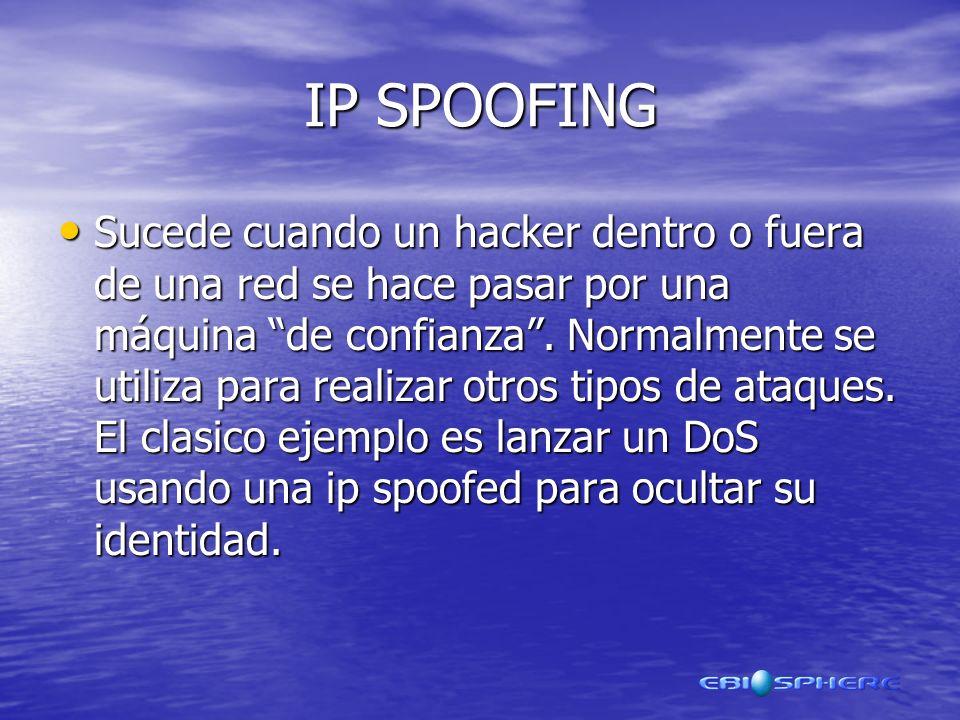 IP SPOOFING Sucede cuando un hacker dentro o fuera de una red se hace pasar por una máquina de confianza.