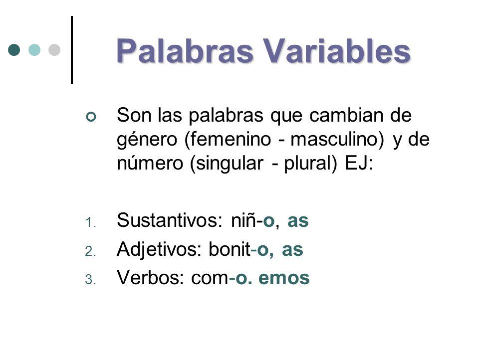 Palabras Variables Son las palabras que cambian de género (femenino - masculino) y de número (singular - plural) EJ: 1. Sustantivos: niñ-o, as 2. Adje