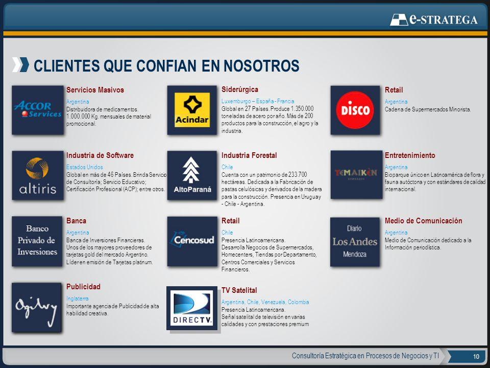 Consultoría Estratégica en Procesos de Negocios y TI 10 CLIENTES QUE CONFIAN EN NOSOTROS Servicios Masivos Argentina Distribuidora de medicamentos. 1.