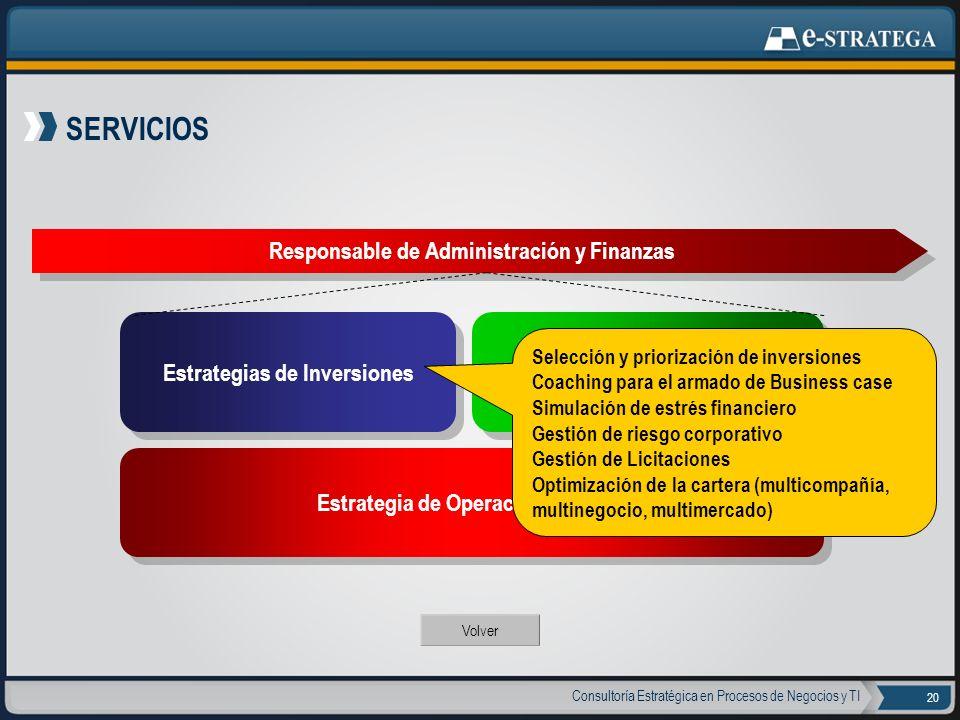 Consultoría Estratégica en Procesos de Negocios y TI 20 SERVICIOS Responsable de Administración y Finanzas Volver Estrategias de Inversiones Estrategi