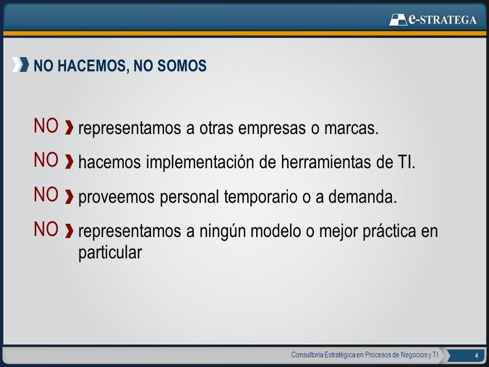Consultoría Estratégica en Procesos de Negocios y TI 5 Somos una Empresa argentina con servicios diseñados para empresas de América Latina Estamos a la vanguardia en Mejores Prácticas Brindamos nuestro servicio con equipo senior exclusivamente Defendemos nuestra independencia comercial absoluta Nuestras recomendaciones son proyectos viables y oportunos Realizamos una síntesis integradora de Mejores Prácticas SÍ HACEMOS, SÍ SOMOS SÍ