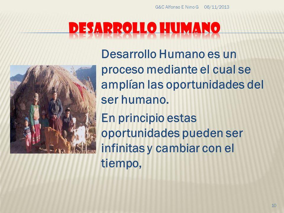 06/11/2013G&C Alfonso E Nino G 10 Desarrollo Humano es un proceso mediante el cual se amplían las oportunidades del ser humano. En principio estas opo