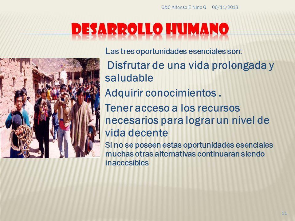 06/11/2013G&C Alfonso E Nino G 11 L as tres oportunidades esenciales son: Disfrutar de una vida prolongada y saludable Adquirir conocimientos. Tener a