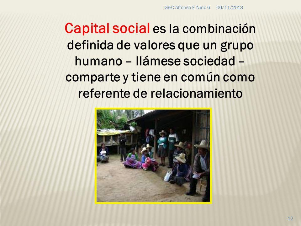 06/11/2013G&C Alfonso E Nino G 12 Capital social es la combinación definida de valores que un grupo humano – llámese sociedad – comparte y tiene en co