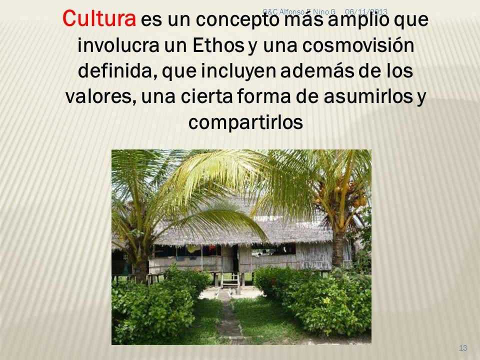 06/11/2013G&C Alfonso E Nino G 13 Cultura es un concepto más amplio que involucra un Ethos y una cosmovisión definida, que incluyen además de los valo