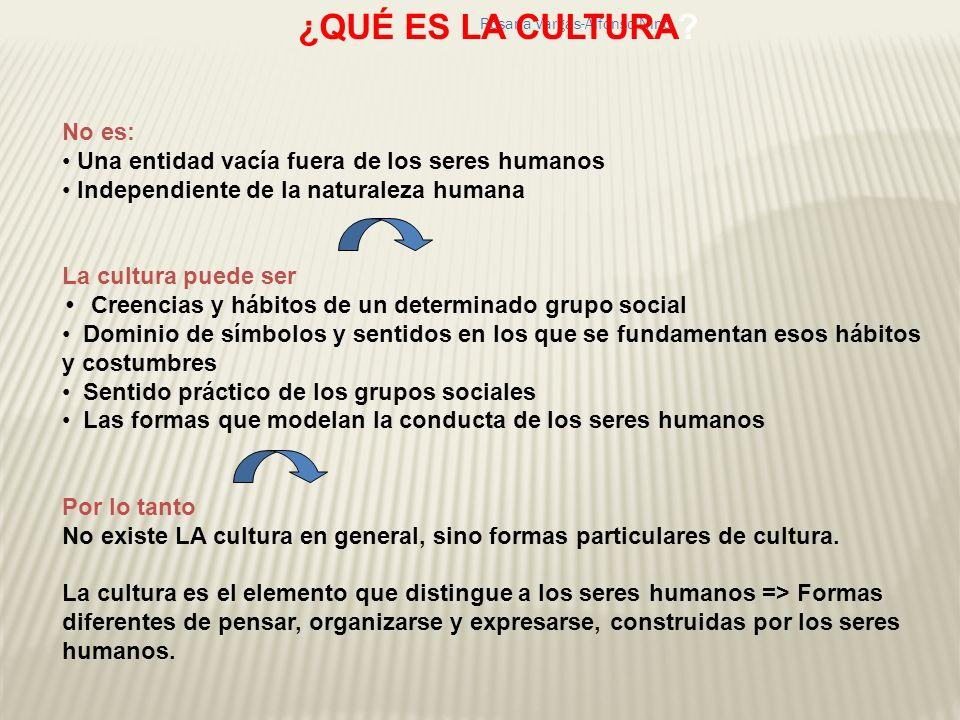 Rosana Vargas-Alfonso Nino ¿QUÉ ES LA CULTURA? No es: Una entidad vacía fuera de los seres humanos Independiente de la naturaleza humana La cultura pu