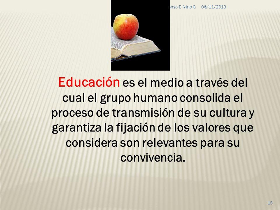 06/11/2013G&C Alfonso E Nino G 15 Educación es el medio a través del cual el grupo humano consolida el proceso de transmisión de su cultura y garantiz