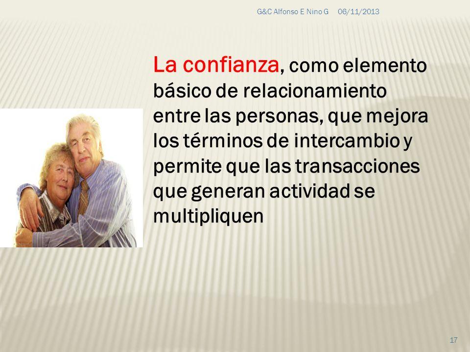 06/11/2013G&C Alfonso E Nino G 17 La confianza, como elemento básico de relacionamiento entre las personas, que mejora los términos de intercambio y p