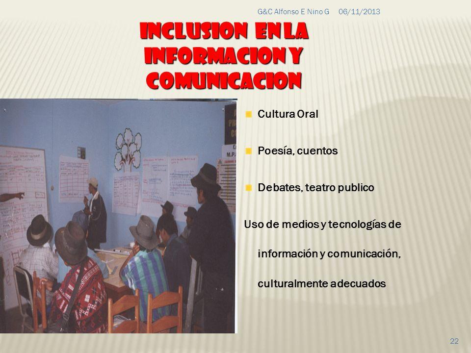 06/11/2013G&C Alfonso E Nino G 22 Cultura Oral Poesía, cuentos Debates, teatro publico Uso de medios y tecnologías de información y comunicación, cult