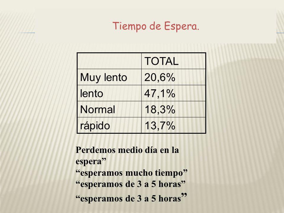TOTAL Muy lento20,6% lento47,1% Normal18,3% rápido13,7% Perdemos medio día en la espera esperamos mucho tiempo esperamos de 3 a 5 horas Tiempo de Espe
