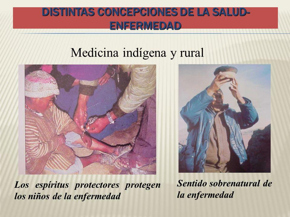 DISTINTAS CONCEPCIONES DE LA SALUD- ENFERMEDAD Medicina indígena y rural Sentido sobrenatural de la enfermedad Los espíritus protectores protegen los