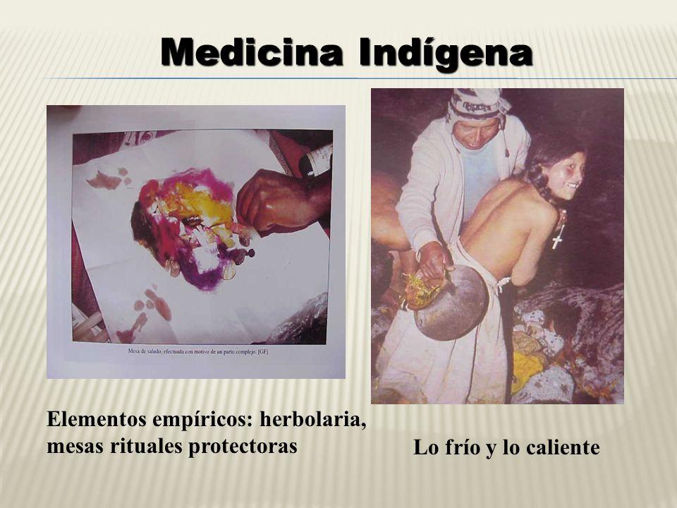 Elementos empíricos: herbolaria, mesas rituales protectoras Lo frío y lo caliente Medicina Indígena
