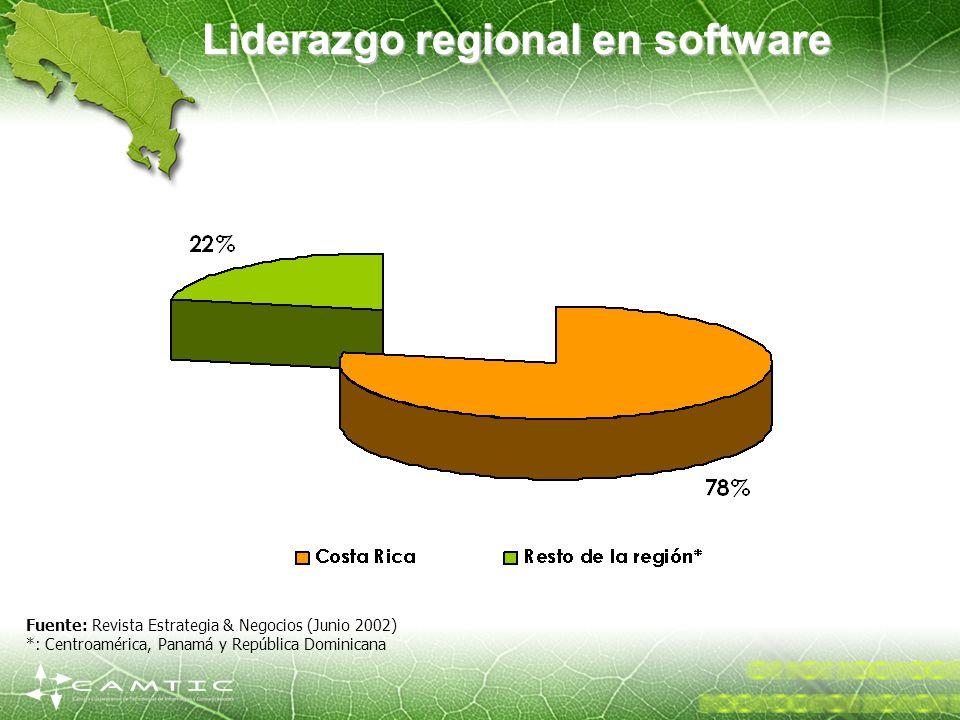 Liderazgo regional en software Fuente: Revista Estrategia & Negocios (Junio 2002) *: Centroamérica, Panamá y República Dominicana