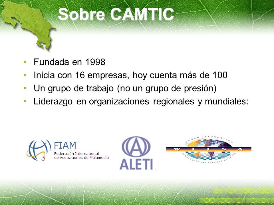 Sobre CAMTIC Fundada en 1998 Inicia con 16 empresas, hoy cuenta más de 100 Un grupo de trabajo (no un grupo de presión) Liderazgo en organizaciones re