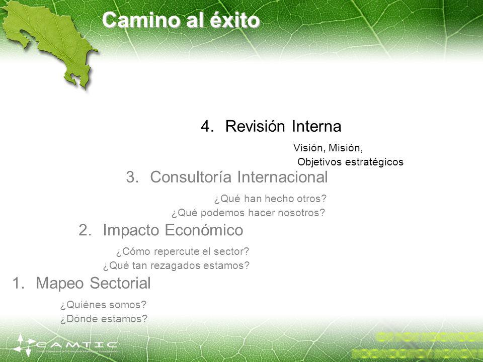 Camino al éxito 1.Mapeo Sectorial ¿Quiénes somos? ¿Dónde estamos? 2.Impacto Económico ¿Cómo repercute el sector? ¿Qué tan rezagados estamos? 3.Consult
